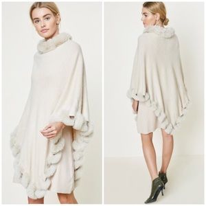 Cream Embossed Faux Fur Sweater Poncho
